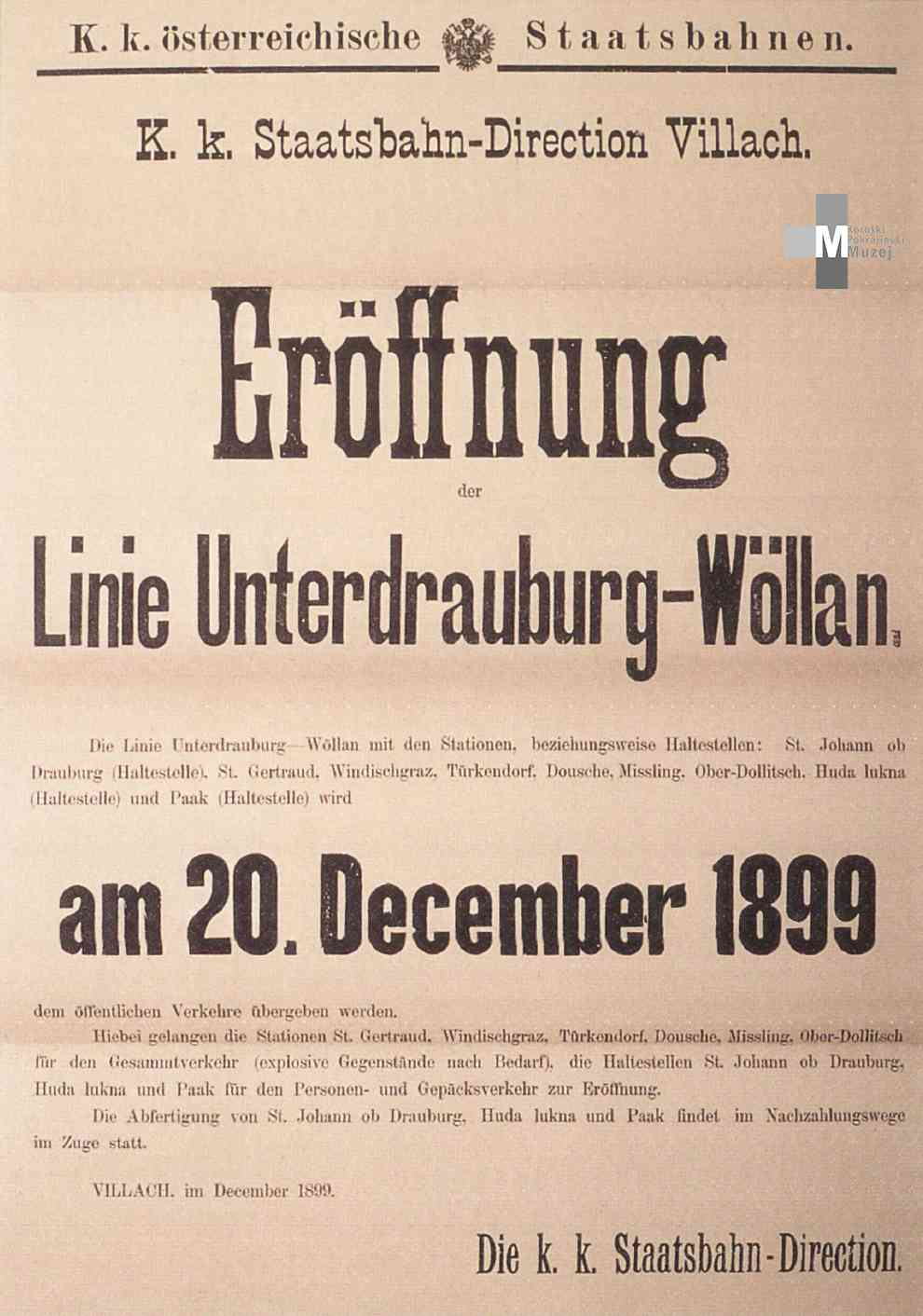 Štrekna - Letak ob odprtju proge Dravograd - Velenje, 20. december 1899.