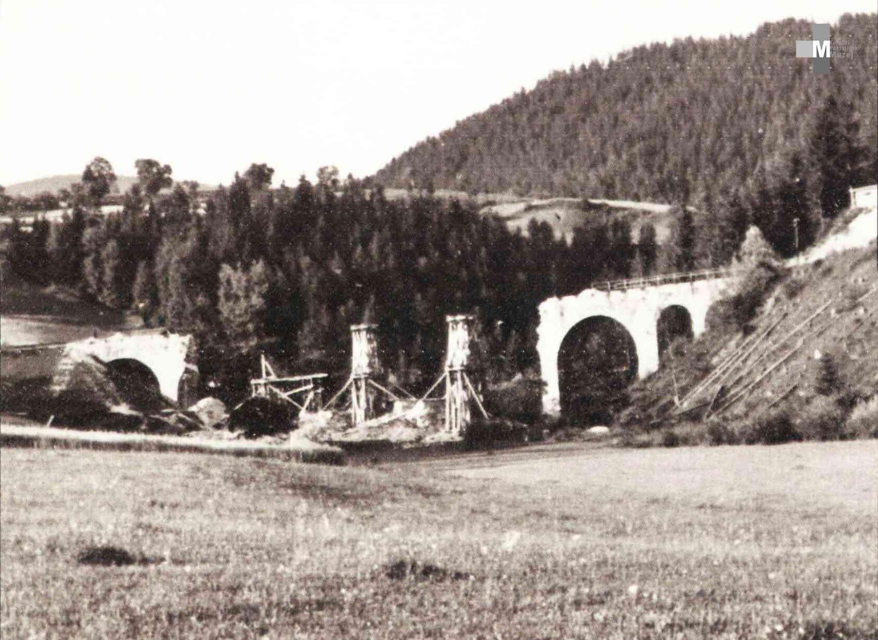 Štrekna - Porušeni 4 loki železniškega viadukta v Gornjem Doliču, 1944.