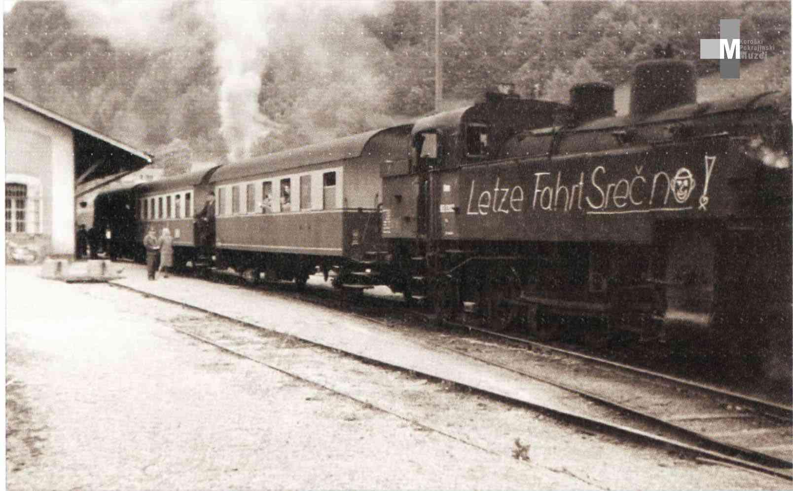 Štrekna - Zadnji avstrijski potniški vlak, ki je pripeljal na postajo Dravograd.