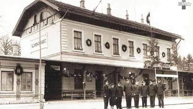Štrekna - Uslužbenci postaje Slovenj Gradec ob dnevu železničarjev okrog leta 1965.